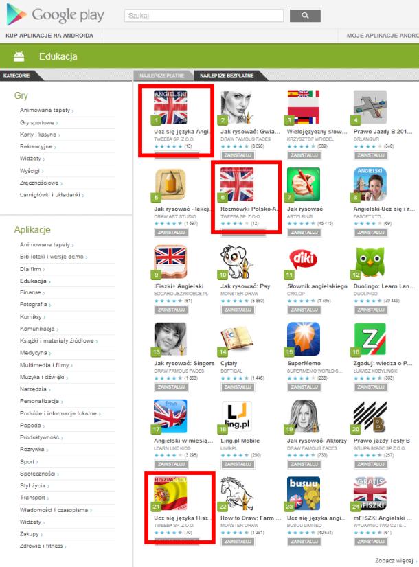 Google Play Najlepsze aplikacje