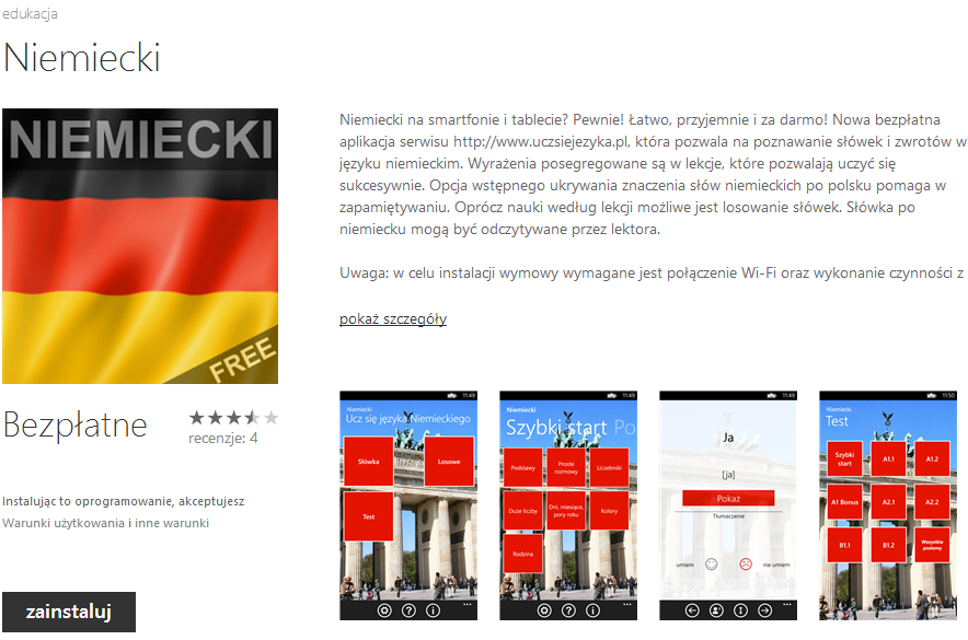 Niemiecki Windows Phone